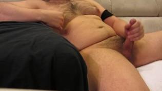 Flauros Bear jerking off and shooting big cum load