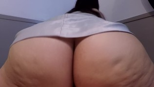 REVERSE COWGIRL SLUT IN WHITE SATIN RIDES UNTIL SHE CUMS DURING CREAMPIE!