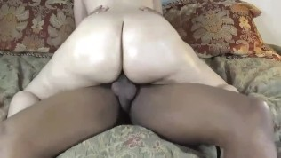 Step mom ride's step son's big black cock & gets pounded HARD! BUBBLE BUTT!