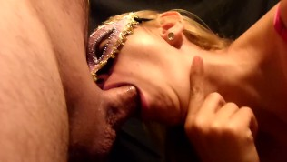 Amazing blowjob and cum in mouth and swallow of blonde