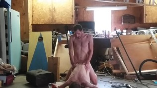 Chris & Chris' Rainy Afternoon Hair-Buzzing Dad/Son Watersports Garage Sex