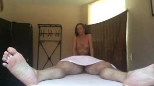 Nude girls give handjob