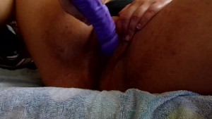 Masturbating/playing with dildo in my pussy and tits