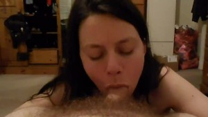 POV blowjob by sexy brunette