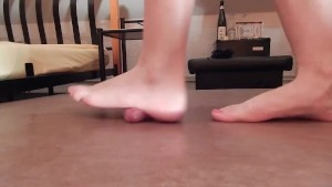 Cruel barefoot cock crush with sexy feet