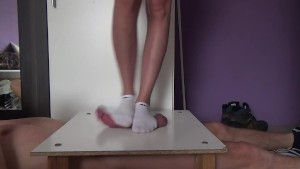 Cock and balls crush in white socks with handjo during stomping on balls