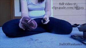 Shoe Abuse Fetish: Cutting up flip flops (teaser!)
