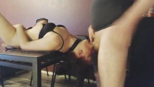 Nasty submissive blowjob slutwife deepthroats under table