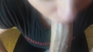 Pretty wife sucks big dick to gargle and swallow cum! Deepthroat Pov!