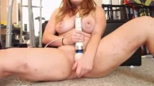Sexy Thick Busty Redhead Hitachi And Dildo Fun