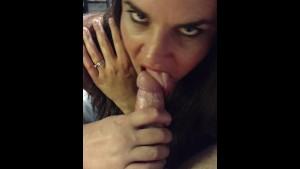 Slut wife Becky sucks dick till cum drips from her mouth...