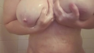 My big tits kept distracting me in the shower!