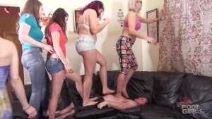 5 girl trampling & foot smother Brattyfootgirls.com