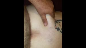 Husband cums on bbw wife's ass
