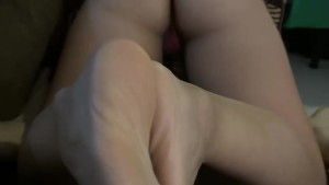 Footjob and ass shaking