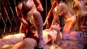 Two sexy big tit MILFs compete for the same cock in threeway