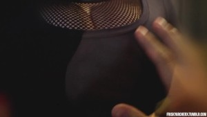 Busty Fishnet Cleavage Blowjob