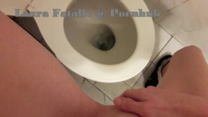 Horny amateur teen squirting in public toilet - Laura Fatalle