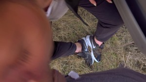 Sloppy POV Outdoor gagging Deepthroat. Shoe Worship. Nike Trailer