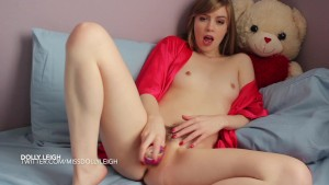Cute blonde Dolly Leigh plays with her new toy