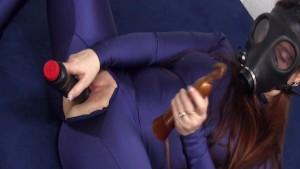 Spandex Dildo Cunt with Gasmask Eroscillator Orgasms