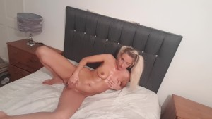 Oiled up fuckdoll fingers sweet pussy