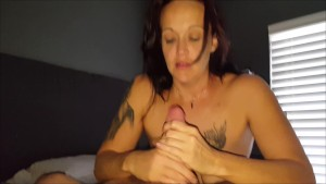 "GIVING A SENSUAL HANDJOB & RIDING HIS BIG THICK 9"" DICK"