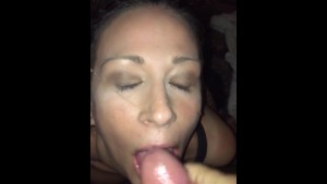 Slow motion facial cum shot