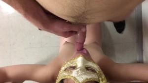 Amateur Kneeling Blowjob in Bondage