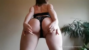 Striptease from a curvy and hairy babe!