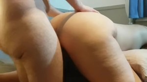 DOGGY STYLE POUNDING EARNS HOT AMATEUR A THICK CREAMPIE, DOGGY CUM IN PUSSY