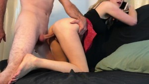 Stepsister creampied while talking on the phone