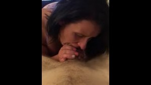 Cum guzzling whore squirts all over herself