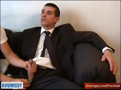 hetero in suit needs money, he let a male to play with his big cock in a porn.