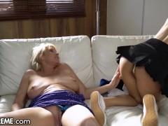 Shaved Schoolgirl & Granny Exchange Pussy Licks - 21Sextreme