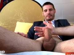 French str8 banker serviced his big dick by guys in spite of him