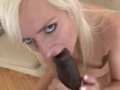 Hot white chick gets black guy to cum inside her pussy