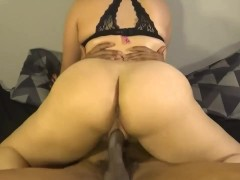 Bubble butt daughter fucks her dads new employee, ride's cock like pro!