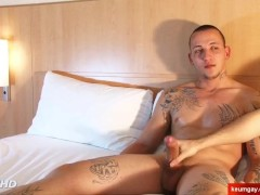 Str8 guy made a gay porn in spite of him where his big cock is stroked