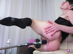 First time sex machine fuck my ass at max speed.My hole gets Orgasm
