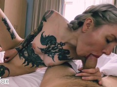 Step brother fucked me at the hotel and cum while parents were gone/Red Fox