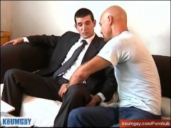 No, i'm str8 suited male, you can't touch my dick ! Guillaume serviced