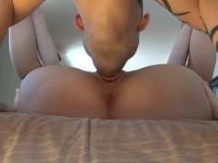 Sexy slut wife pussy licking with creampie close up