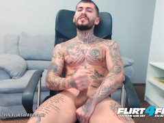 Flirt4Free - Tony Calvin - Hot Athletic Tatted Hunk Jerks His Huge Cock