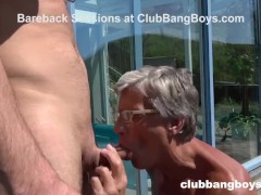 Senior Citizen takes a Hot Load by the pool