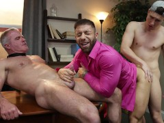 GAYWIRE - Muscle Bear Step Father Has Steamy Threeway With Step Son