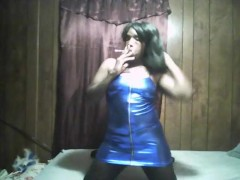 sexy black girl smoking in sexy blue dress