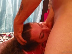 Hot young slut loves face abuse