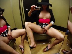 Sexy Squirter Soaks Public Changing Room