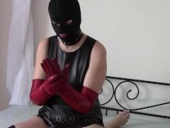 Handcuffs, Two Pairs Of Leather Opera Gloves And Handjob